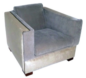 1940s Paul Frankl Style Streamline Moderne Lounge Chair In Two Tone  Ultrasuede
