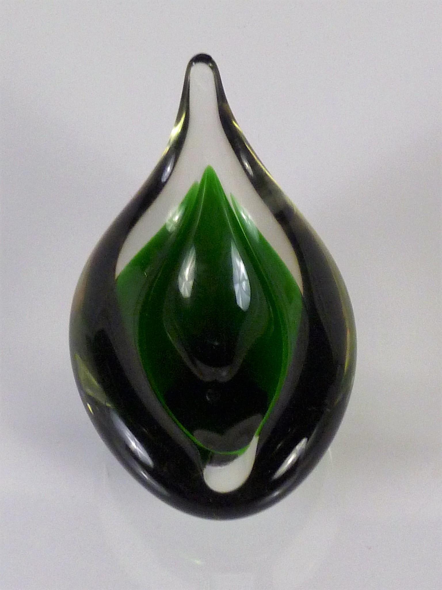Holmegaard Denmark Modern Teardrop Shaped Dark Green And Clear Blown Glass By Per Lutken 1959
